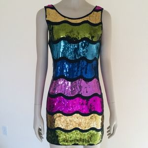 Forever 21 colorful wave sequined tank party dress